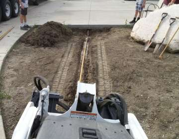 Horizontal Boring (Example: Placing irrigation lines under a 45 ft wide driveway)
